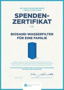 Spendenprojekt Biosand-Wasserfilter Spendenzertifikat Missionswerk Karlsruhe