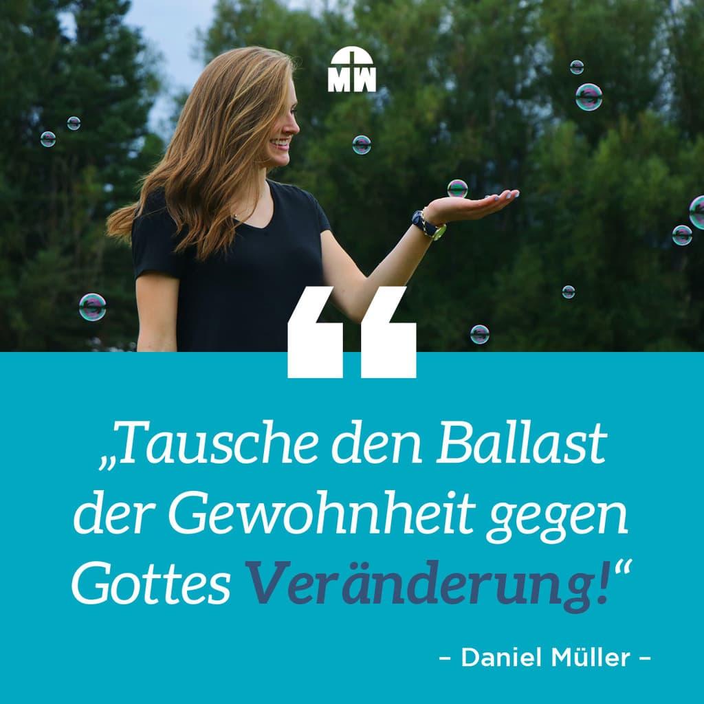 Frau mit Seifenblase auf der Hand - Wie ist der Zustand deiner Veränderung? Ermutigung der Woche Missionswerk Karlsruhe